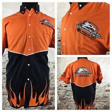 Harley Davidson Mens Size Medium Screamin' Eagle flames Button Down SS Shirt