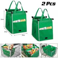 2PC Grab Bags For Shopping Trolley Cart Clip On Eco Bags Reusable Tote Pair - UK
