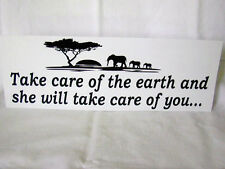 Planet Earth Bumper Sticker, Take Care of the Earth, Environmental, 11 X 4, NEW