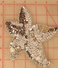 Cute vintage lily star flower beaded sequins applique Silver & pearl accent 6""