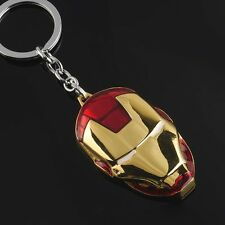 New Iron Man Keychain Marvel The Avengers Character Red Gold Mask Metal Keyring