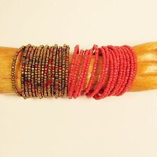 """Set of 2""Red/Gold Multi Strand Beaded Bangle Handmade Cuff Bracelet Glass Beads"