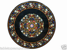 Size 4'x4' Black MarbleDining Side Table Top Inlay Antique Christmas Home Decor