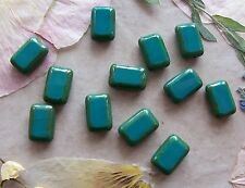 12 Czech Glass Table Cut Rectangle Beads ~ Persian Turquoise Picasso 8x12mm