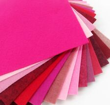 """15 - 6""""X6""""  Pink/Red Colors Collection - Merino Wool blend Felt Sheets"""
