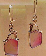 Watermelon Tourmaline Slice 9.00ct Kidney Wire 14k Solid Gold Earrings skaisMY16