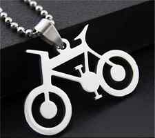 Bicycle Womens Men's Silver 316L Stainless Steel Titanium Pendant Necklace