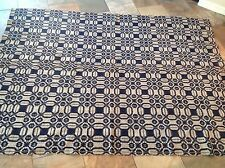 Awesome Early Antique 19th Century Linen Wool Indigo Coverlet Aafa