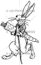 100 PROOF PRESS RUBBER STAMPS RABBIT WITH CARROT STAMP