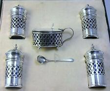 Cased Sterling Silver Cruet Set (Mustard Pot / 2 Pepper & 2 Salt Shakers) - 1923