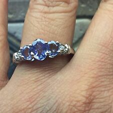 AAA Natural 1.5ct Tanzanite 925 Solid Sterling Silver 3-Stone Band Ring sz 9