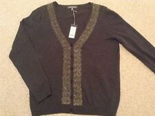 Laura Ashley Top Charcoal Grey,Lace Trim long sleeves size 14