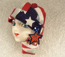 LADY HEAD woman FACE Porcelain-Look Resin Brooch Pin Patriotic Figural USA Stars