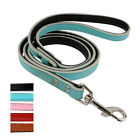 "Padded Leather Dog Lead Walking Dog Leash Red Black Pink Blue 48"" Length"