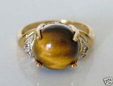 Beautiful 9ct Gold Tigers Eye & White Topaz Ring Size N