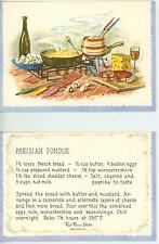 VINTAGE SWISS CHEESE HAM MUSHROOM WINE PARISIAN COOKING FONDUE RECIPE CARD PRINT