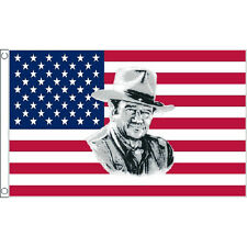 Usa John Wayne Flag 5Ft X 3Ft American Cowboy Wild West Banner With 2 Eyelets