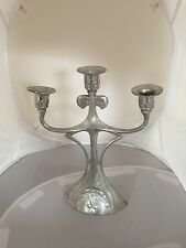 "THREE BRANCH ART NOUVEAU WHITE METAL CANDELABRUM  BY ""KAYSERZINN"" 10.5"" x 8.5"""