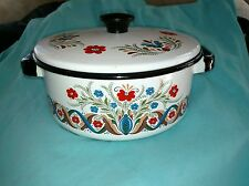 "Berggren Swedish Enamelware Cook Stew Pot w Lid 8"" Pot"