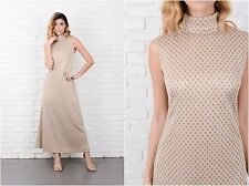 Vintage 60s 70s Silver + Gold Metallic Maxi Dress Geometric Print Small S