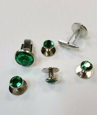Cufflinks and Tuxedo Studs Silver Emerald Green New Set TUXXMAN