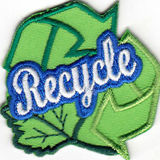 """""""RECYCLE"""" - EARTH - RECYCLING - CONSERVATION - IRON ON EMBROIDERED PATCH"""