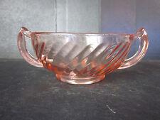 Vtg PINK Depression Era Glass Double Handled Soup Cereal Bowls Swirl Pattern