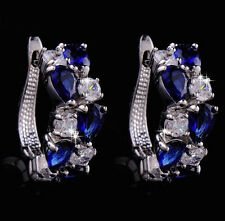 14k White Gold GF Earrings made w/ Authentic Swarovski Crystal Blue Clear Stone