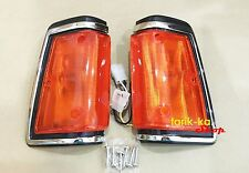 Front Corner Turn Signal Lights Chrome For 82-86 Nissan Datsun 720 Pickup Ute