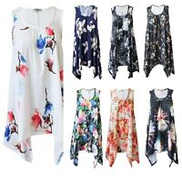 Women Ladies Hanky Hem Vest Flared Floral Top Shirt Dress Shirt Plus Size UK8-26