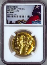 2015-W $100 Gold American Liberty High Relief NGC MS70PL ER PROOF LIKE W/OGP