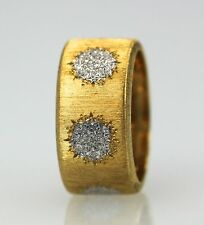 BUCCELLATI 18K TEXTURED BRUSHED YELLOW GOLD RING W/WHITE 6 GOLD CIRCLES SIZE 7