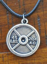 Barbell Weight Plate Pendant Charm Gym Bodybuilding Muscle Necklace