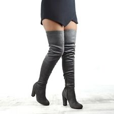 WOMENS THIGH HIGH BLOCK HEEL LADIES FASHION OVER THE KNEE HIGH STRETCH LEG BOOTS