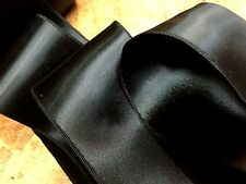"""VINTAGE 1930s DOUBLE SIDED 3"""" RAYON SATIN RIBBON Made in France BLACK SASH"""