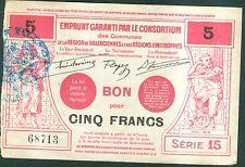 BON POUR 5 FRANCS REGION DE VALENCIENNES ET LIMITROPHES   ETAT : SUP  lot 124