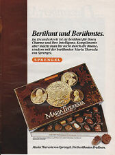 SPRENGEL - MARIA THERESIA PRALINES - PUBLICITE PRESSE / ADVERT 1985 ALLEMAGNE