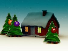 "perfect oil painting handpainted on canvas ""Christmas tree,tree,house""@NO1567"