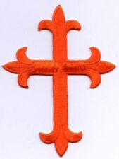 Iron On Applique Embroidered Patch Religious Fleur de lis Cross Orange