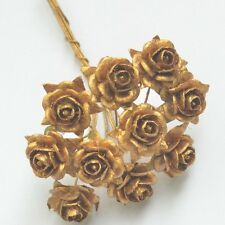 50 MULBERRY PAPER ARTIFICIAL ROSE HEAD FLOWERS METALLIC GOLD 15 mm./ 0.6 INCH