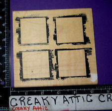 FOUR FRAMES WINDOWS PAINTED FRAMED RUBBER STAMP JUST FOR FUN