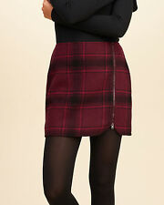 NWT SIZE 0 HOLLISTER BY ABERCROMBIE ZIP FRONT WOOL BLEND PLAID MINI SKIRT