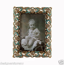 Edgar Berebi Anabelle Turquoise Picture Frame Museum Gold Plated Crystals/Pearl