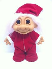 """Russ Large 8"""" Troll Christmas Baby Santa Suit Hat With Red Back Flap Pajama PJs"""