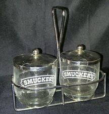 Vintage Smuckers clear Glass Advertising Jam Jelly Jar Stand Retro Kitchen sugar