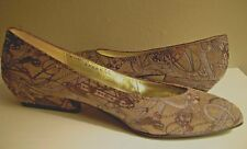 VTG Bruno Magli sz 5.5 Shoes Low heel Pumps Brown Textured Leather Italy