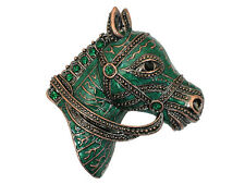 Gorgeous Emerald Color Green Crystal  Horse Head Pin Brooch C622
