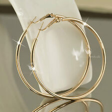 18K GOLD GF HOOP EARRINGS Round Medium Solid WOMENS 50MM