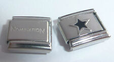 BLACK STAR 9mm Italian Charm + 1 x Genuine Nomination Classic Link  Stars Space