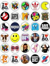 30 80s Retro I love heart 1980s Birthday Edible Paper Cake/Cupcake Toppers
